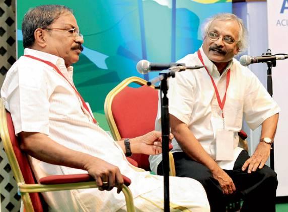Malayalam writers M.T. Vasudevan Nair and M. Mukundan speak at the Hay Festival